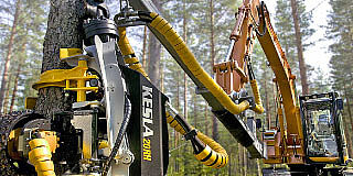Harvester equipment for excavators